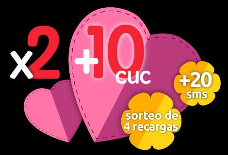Recarga doble +10 CUC +20 SMS