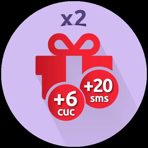 Recarga doble + 6 CUC + 20 SMS gratis
