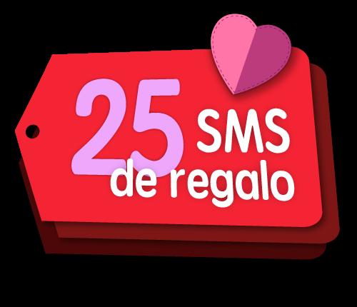 25 SMS gratis por San Valentín